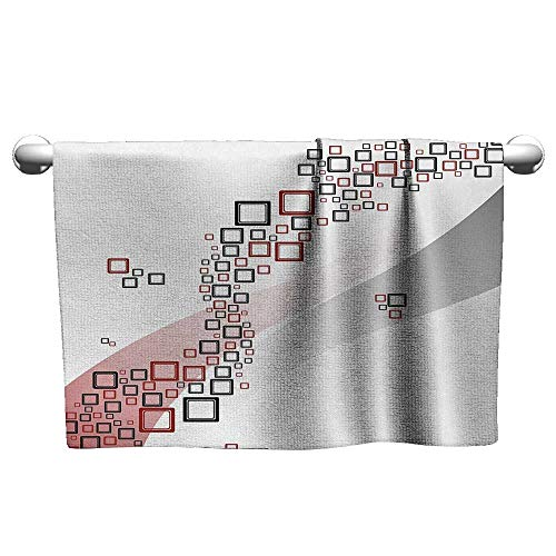 alisoso Abstract,Wash Towels Fractal Square Shaped Geometrical Forms with Wavy Two Colored Backdrop Artwork Washcloths Grey and Red W 20