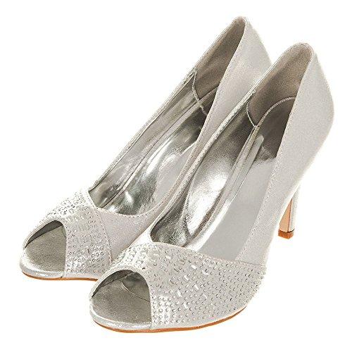 Diamante JOY Medium Heel Open Toe Silver Shoe UI6Uf