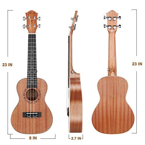 Concert Ukulele Ranch 23 inch Professional Wooden ukelele Instrument Kit With Free Online 12 Lessons Small Hawaiian Guitar ukalalee Pack Bundle Gig bag & Digital Tuner & Strap & 4 Aquila Strings Set - Image 1