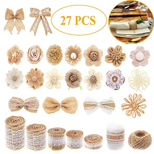 - 27 PCS Natural Burlap Flowers Set,Include Lace Burlap Ribbon Roll,Handmade Rustic Wedding Burlap Fabric Flowers Bowknot and Nature Jute Twine Ribbon for Crafts Favor Party Decor Home Embellishment