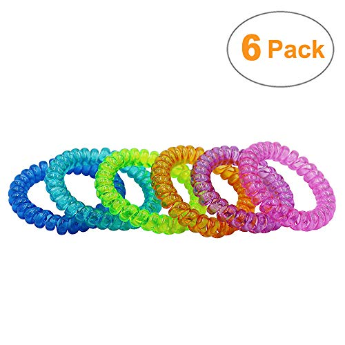 (Sensory Stretchy Kids Bracelets, 6 Pack Funny Speech and Communication Aid Coil Bracelet Toys for Boys Girls with Autism ADHD Fidget Anxiety or Special Needs - Assorted Colors (Rainbow))