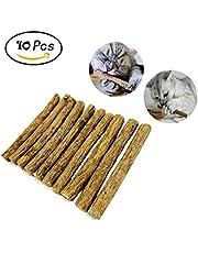 Makone Matatabi Baton Chat, 10 Bâtons de Matatabi à Mâchonner de Naturel Matériel Soins dentaires Chew Catnip Sticks pour Le Nettoyage des Dents Diamètre 10-15mm