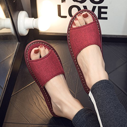 linen 37 38 interior slippers cool slip sweat slippers away of with home and in red the Home fankou thick summer Ladies A anti men floor xqBwYIA1