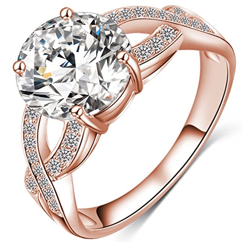 FENDINA Womens Infinity Solitaire Wedding Engagement Rings Best Promise Rings for Her - Round Cut CZ Crystal - 18K Rose Gold Plated