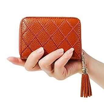 Cynure Women's RFID Blocking 15 Slots Card Holder Leather Zipper Accordion WalletBrown