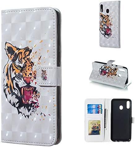 あなたの携帯電話を保護する ホルダー&カードスロット&フォトフレーム&財布付きギャラクシーM20用タイガーパターン3D水平フリッ