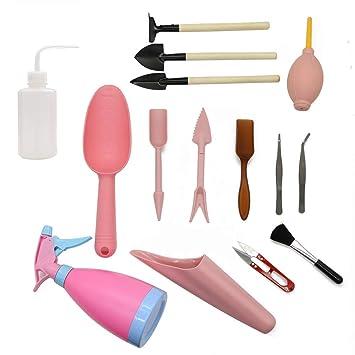 Tolyneil 15 piezas de plantas suculentas herramientas, mini herramientas de mano de jardín Herramientas de trasplante Miniatura de plantación Conjunto de ...