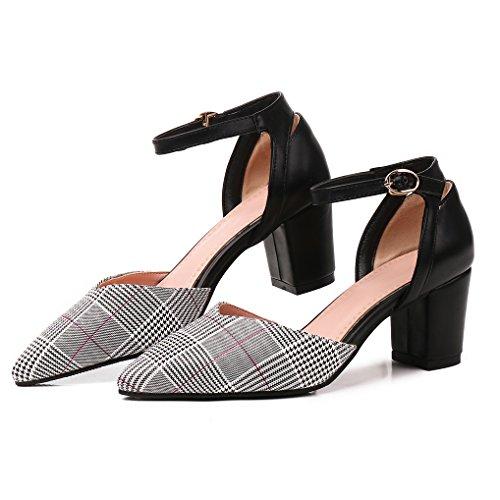 Bout Soirée Pointu Carreaux Bride Moyen Sexy Sandale OALEEN Bloc Noire Escarpins Cheville Talon Chaussures Rouge Femme Cqx4t