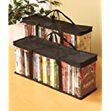 DVD Storage Organizer - Classic Set Of 2 Storage Bags With Room For 40 DVDs Each For A Total Of 80