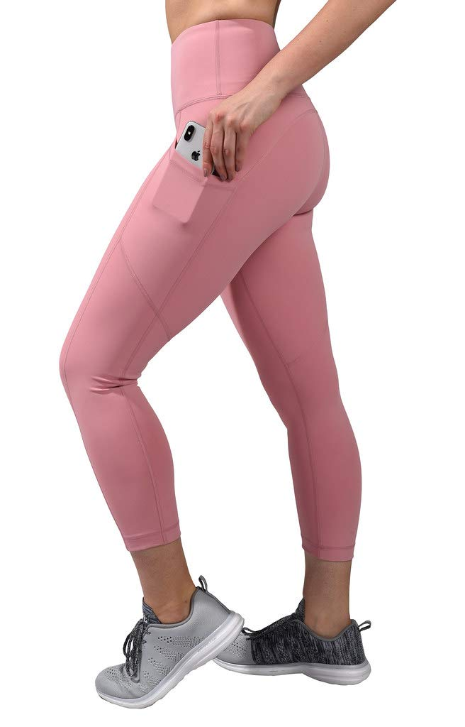 90 Degree By Reflex High Waist Squat Proof Yoga Capri Leggings with Side Phone Pockets - Blush - Large by 90 Degree By Reflex