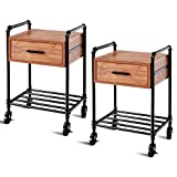 Giantex Set Of 2 Nightstand Side Table Industrial Style Vintage 2-Tier Side Table Rolling Cart Metal Frame W/Storage Shelf Drawer, 4 Rolling Wheels with 2 Locking Wheels For Living Room End Table
