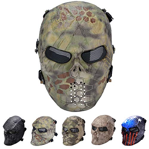 Outgeek Tactical Airsoft Mesh Mask Protective Full Face Costume Mask(Forest)