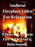 Ambient fireplace video for relaxation 8 hours of a warm fire with wind and rain sounds