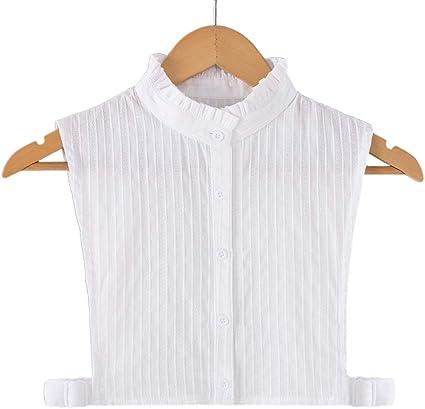 JOYKK Mujer Camisa Blanca con Cuello Falso y Rayas Verticales con Solapa Desmontable Media Camisa - 3# Cuello Alto
