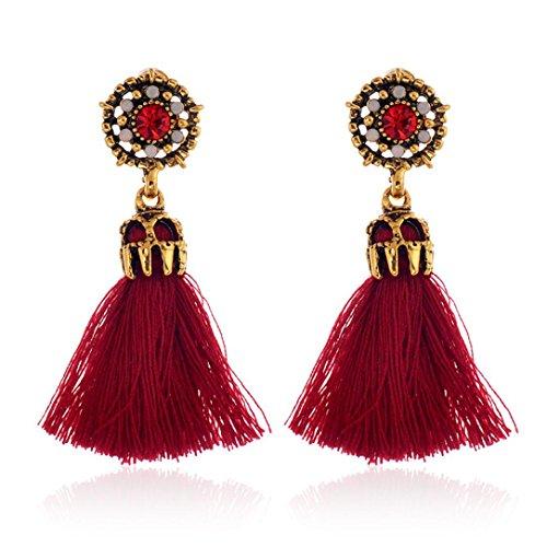 DZT1968 Women Girl Vintage hollow Crystal Tassel Dangle Stud Earrings Jewelry (Red)