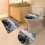 peak performance parka - 3 Piece Bath Rug Set Nostalgic Photo of Ethnic Finding Grand Canyon Peaks in Nationa Park with Cloud Fabr Textures Non-Slip Bathroom Mats Contour Toilet Cover Rug
