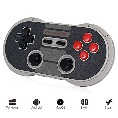 GooDGo 8Bitdo Wireless Controller Bluetooth Classic Gamepad for Windows / Android / MacOS / Steam / Nintendo Switch (NES30 Pro)