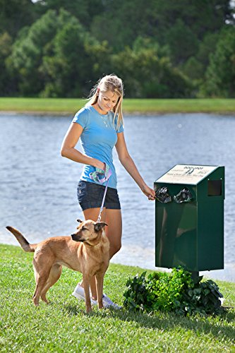 DOGIPOT 1001-2 DOGVALET Includes Litter Bag Rolls and Liner Trash Bags, Aluminum, Forest Green by Dogipot