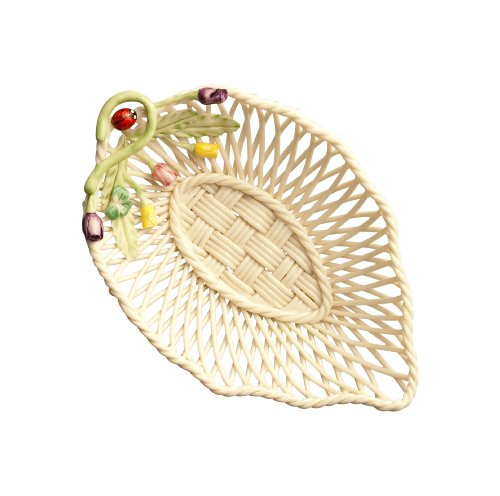 Belleek 4298 Rose Bud Leaf Basket, 3.9-Inch, Multi