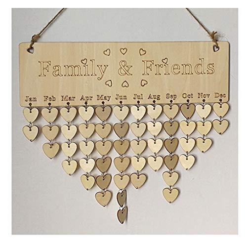 (Wooden Birthday Reminder Calendar Board,Birch Plaque Signed Family &Friends DIY Accessories (B))
