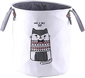 yqs Storage Box Storage Hamper Dirty Hamper Fashion and Simple Collection of Barrels Household Dirty Clothes Basket Folding Cloth Laundry Basketthickening British Short Cat 35 X 40,Thickening British