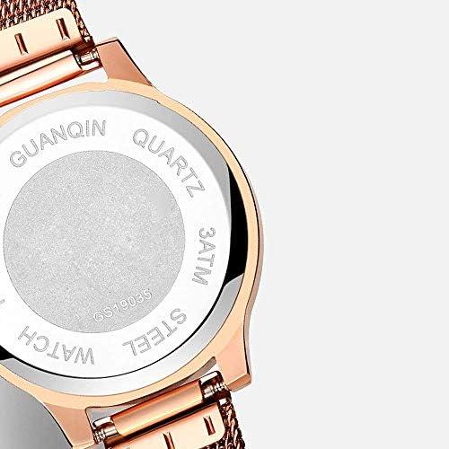 BEWITCHYU Pratique Montres Montre-Bracelet à Quartz Ultra-Mince de 7,5 Mm Pour Femmes, Maille en Acier Inoxydable de 28 Mm avec Bracelet de Montre Décoratif de Mode Lumineux