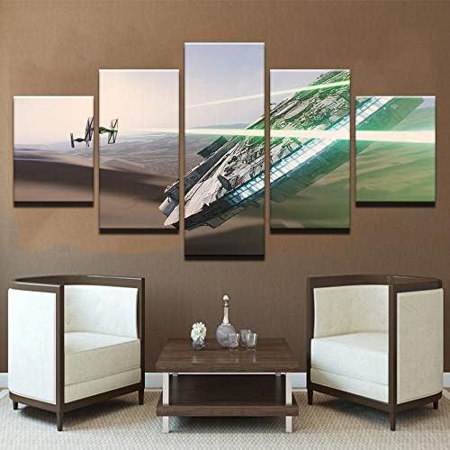 mmwin Carteles Impresiones Lienzo Arte Moda Pared Decoración para el hogar 5 Panel Nave Espacial Trabajo Modular Imágenes para Sala de Estar: Amazon.es: Hogar
