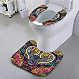 UHOO2018 Toilet seat Cover Paisley Original Decorative Backdrop Soft Non-Slip Water