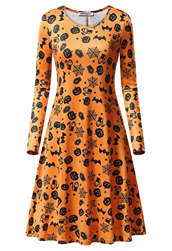 Orange Flapper Dress (Women's Halloween Scary Bat Pumpkin Spider Smock Swing Costume Dress Funny Long Sleeve Party Dresses)