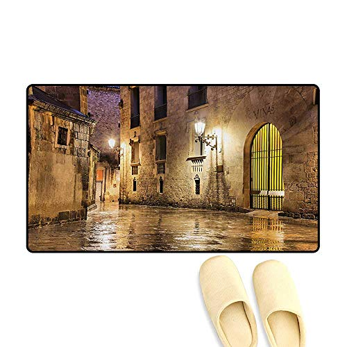 Bath Mat,Gothic Ancient Stone Quarter of Barcelona Spain Renaissance Heritage Night Street Photo,Doormats for Inside Non Slip Backing,Cream,20