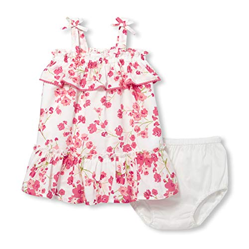 (The Children's Place Baby Girls Graphic Sleeveless Floral Bloomer Dress Set, Simplywht, 3-6MONTHS )