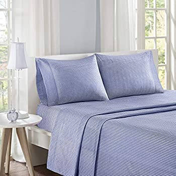 Mi Zone Gingham Queen Bed Sheets, Casual 100% Cotton Bed Sheet, Navy