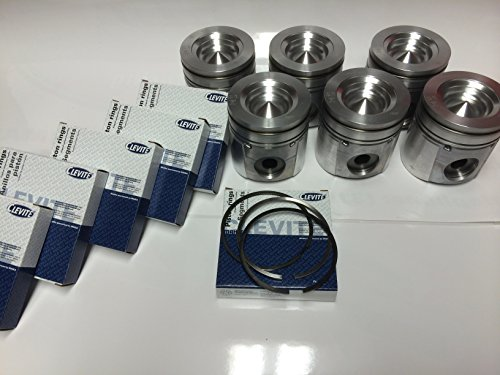 """MAHLE Pistons set Compatible with Dodge CUMMINS 5.9 5.9L 17:1 MAHLE PISTON +.040"""" 2003-2004.5 w/Rings"""