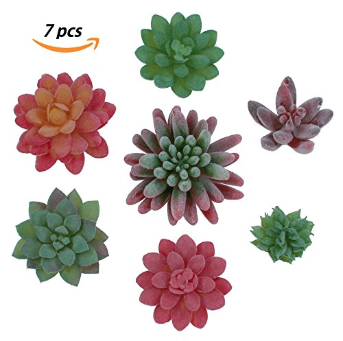 Realistic Colorful Artificial Succulent Plants 7pcs - Premium Faux Fake Unpotted Succulents, Decoration for Home, Garden, Kitchen, Bedroom. For Terrarium, Pot, Planter, Bouquet, Centerpiece, Corsage