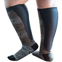 Xpandasox Women's Plus Size/Wide Calf Geometric/Solid Knee High Socks
