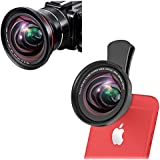 iPhone Camera Lens, 0.39X Super Wide Angle Lens & 12X Macro Lens, 2 in 1 Professional HD Cell Phone Camera Lens for iPhone x 8 7 plus 6s, Samsung Galaxy Note, Android Smartphones & 37mm Camcorder Lens