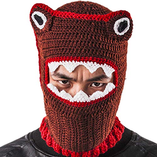 XRDSS Funny Shark Mouth Mask Halloween Party Props Handmade Knit Hedging Cap,L ()