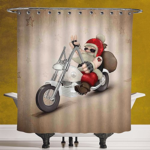 Stylish Shower Curtain 3.0 [Christmas Decorations,Rock Grunge Santa with Heart Tattoo on Motorbike Delivery Bikie Peace,Red Cream] Waterproof and Mildewproof Polyester Fabric Bath Curtain Design (Calgary Chocolate Delivery)