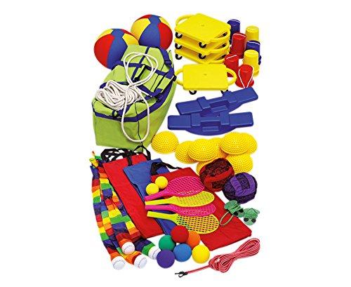 Betzold Psychomotorik Set, Bewegungsspiele, Wurfsspiele, Softbälle, Stelzen, Rollbrett, kompatk aufbewart im BigBag, vielfältige Einsatzmöglichkeit