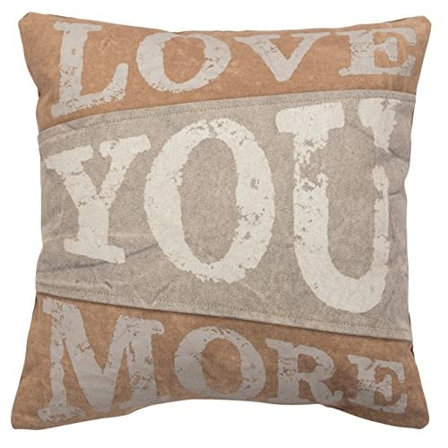 Primitives by Kathy Cotton Love You More Canvas Throw Pillow 15-Inch Square