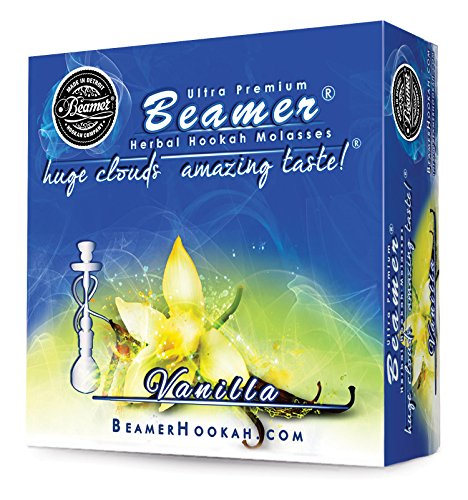 Vanilla Beamer® Ultra Premium Hookah Molasses 50 Gram Box. Huge Clouds, Amazing Taste!® 100 % Tobacco, Nicotine & Tar Free but more taste than tobacco! Compares to Hookah Tobacco at a fraction of the price! GREAT TASTE, LOTS OF SMOKE & SMELLS GREAT!!! Proudly made in the USA!