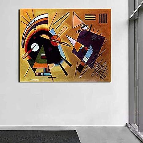 YuanMinglu Pintura al óleo Negra y púrpura sobre Lienzo impresión Sala de Estar decoración del hogar Arte de la Pared Moderna Pintura al óleo póster Pintura sin Marco 60x75cm