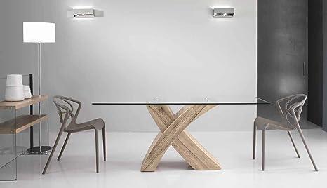 Mocada Raul Tavolo Fisso Design 160x90 Cristallo E Basamento Legno