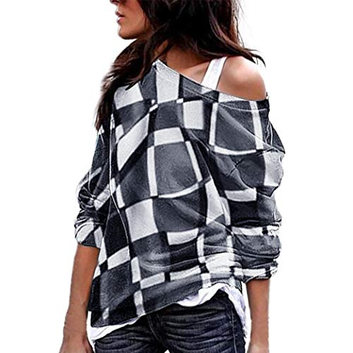 Sunhusing Women Off-Shoulder Camouflage Long-Sleeve Shirt Casual Sweatshirt Pullover Blouse