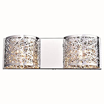 YOBO Lighting 2 Light Vanity Light G9 Chrome Crystal Wall Sconce