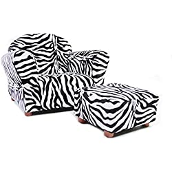 KEET Roundy Chair with Ottoman, Zebra. (For children Ages 2 to 5)