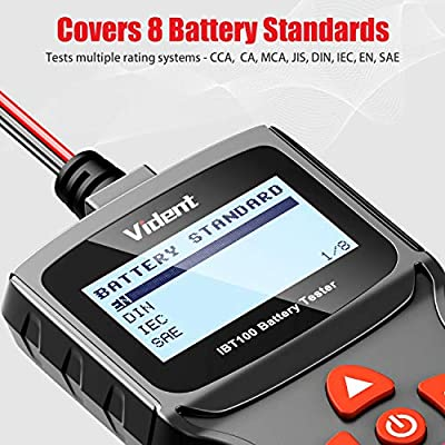 VIDENT iBT100 Car Battery Tester 12V Battery Analyzer for Flooded, AGM,Gel 100-1100 CCA Automotive Tester for Passenger Cars and Light Duty Trucks: Automotive