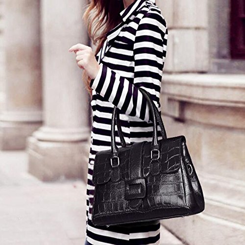Pattern New Crocodile States Oil Handbag Europe Portable Wax Black And Diagonal The Shoulder United wZ11FS
