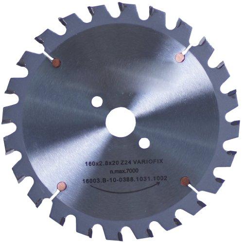 Connex COM361603 Hand-/Tischkreissägeblatt, hartmetallbestückt, Varioline-Präzisionsausführung, 160 x 20/16 mm, 24 Zähne