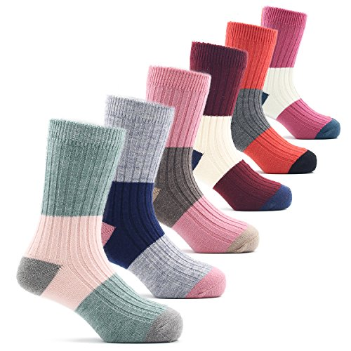 Toddler Girls Wool Socks Kids Crew Seamless Winter Warm Socks 6 Pack 1-3 Years